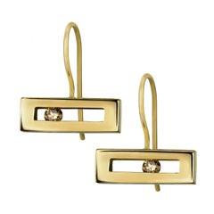 Luke Rose Champagne Diamond Hook Earrings in Yellow Gold