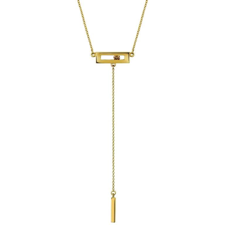 Luke Rose Yellow Gold Champagne Diamond Drop Necklace