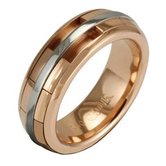 Luke Rose 18 Carat Rose Gold and Platinum Gents Revolver Ring