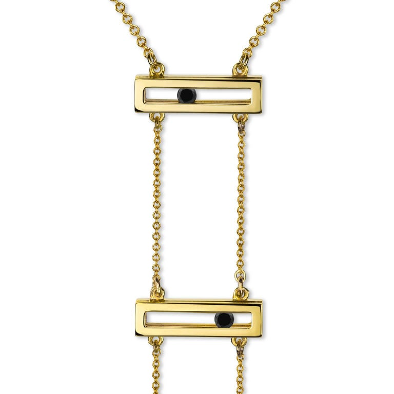 Luke Rose Yellow Gold Black Diamond Drop Necklace 2