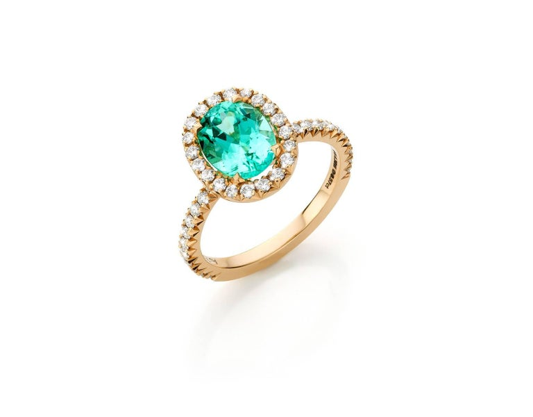 1 97 Carat Paraiba Tourmaline Solitaire Ring Set With Vvs1