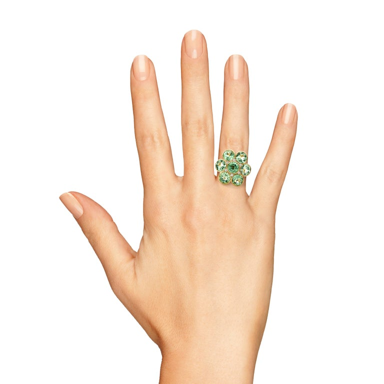 Contemporary Rose Gold White Diamond Tourmaline Cluster Cocktail Ring For Sale