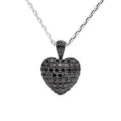 Towe Norlen 2 Carat Contemporary Black Diamond Heart Pendant Necklace