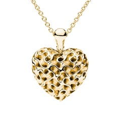 Towe Norlen Silk Heart Open-Work Yellow Gold Pendant