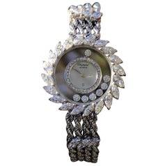 Chopard Ladies White Gold Happy Diamonds Quartz Wristwatch