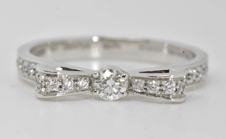 Round Cut Chanel Diamond Bow Ring For Sale