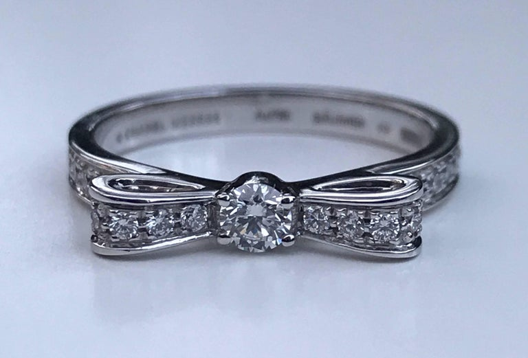 Women's Chanel Diamond Bow Ring For Sale