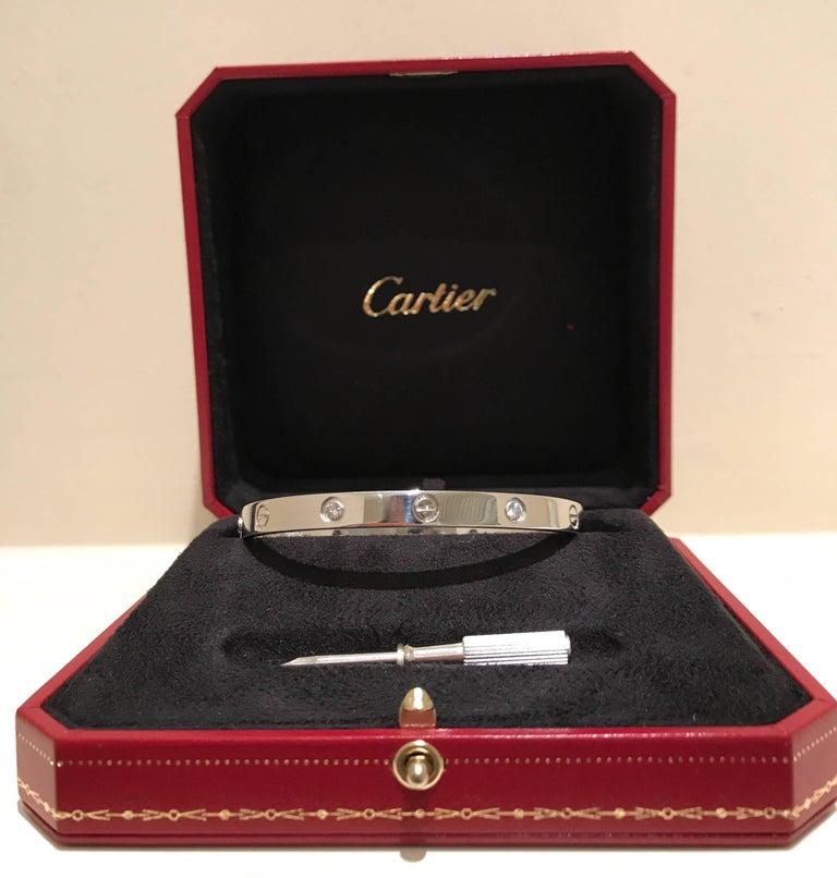 Contemporary Cartier Diamond Love Bangle For Sale