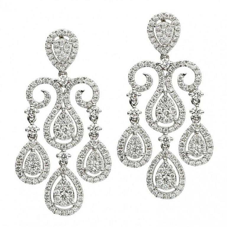 Diamond Gold Chandelier Earrings 2.65 Carat 1