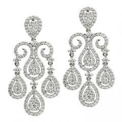 Diamond Gold Chandelier Earrings 2.65 Carat