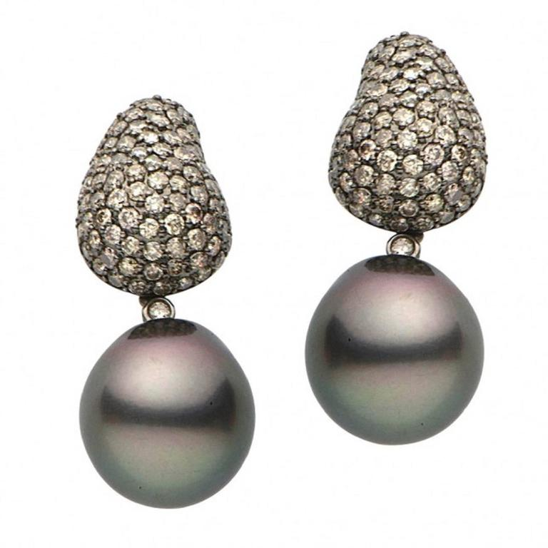 tahitian pearl champagne diamond gold earrings for sale at. Black Bedroom Furniture Sets. Home Design Ideas