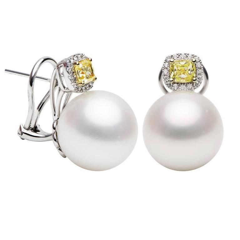 South Sea Pearl Yellow Diamonds Gold Earrings