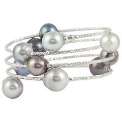 Tahitian Pearls Gold Long Wrap Around Snake Bracelet