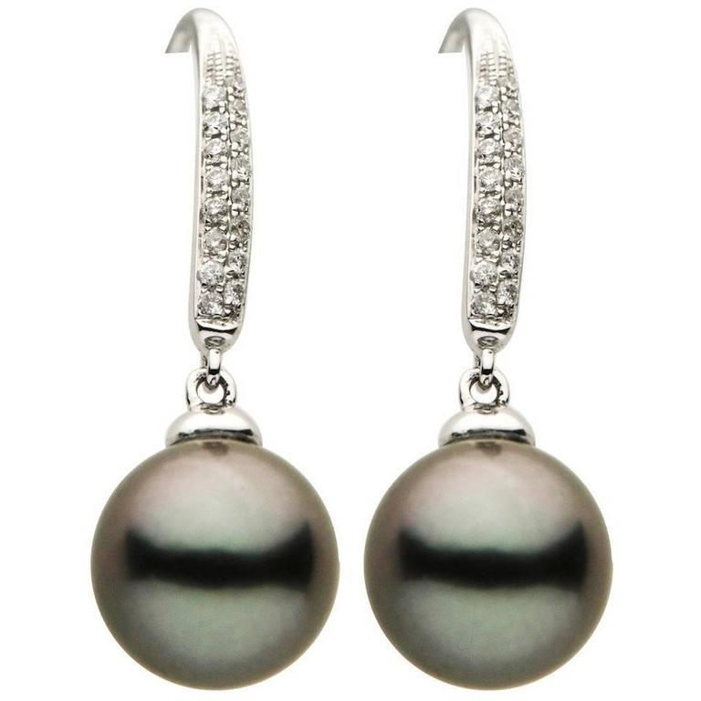 Tahitian Pearl Diamond Drop Dangle Earrings