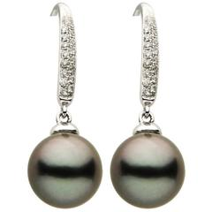 Tahitian Pearl Diamond Drop Dangle Earrings