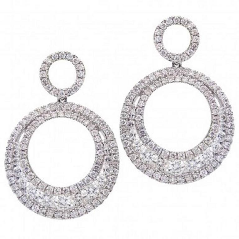 Double Hoop Diamond Drop Dangle Earrings