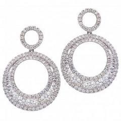 Double Hoop Diamond Drop Dangle Earrings