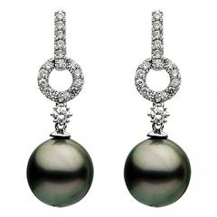 White Gold Tahitian Pearl and Diamond Drop Dangle Earring