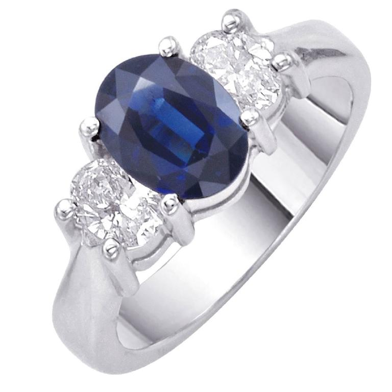 English Oval Sapphire Diamond Engagement Ring For Sale