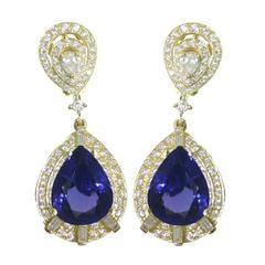 Pear Shape Tanzanite Diamond Gold Dangle Drop Earrings