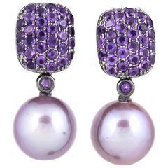 Pink Freshwater Pearl Amethyst Diamond Earrings