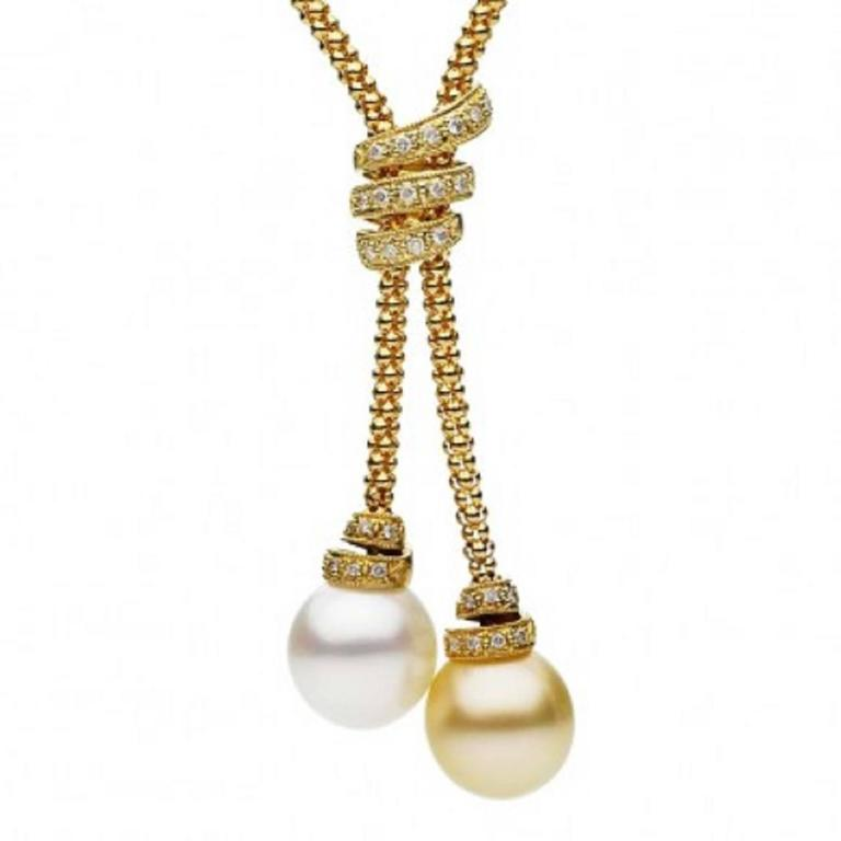 White and Golden South Sea Pearl Diamond Gold Necklace