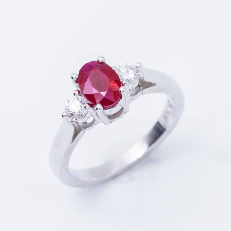Oval Shaped 1.25 Carat Ruby Diamond White Gold Three Stone Engagement Ring  2