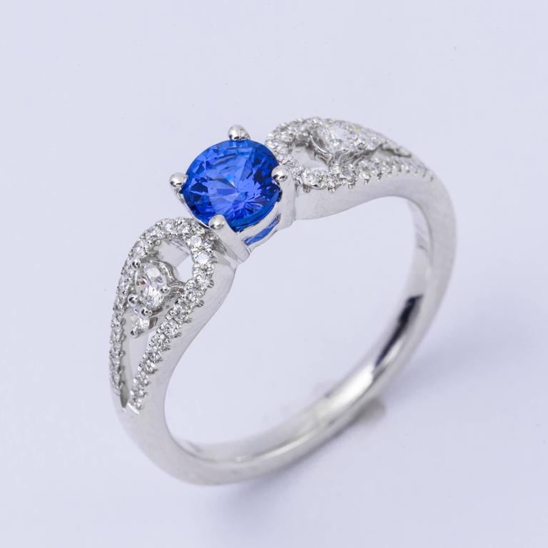 .64 Carat Ceylon Sapphire Diamond White Gold Engagement Ring   2