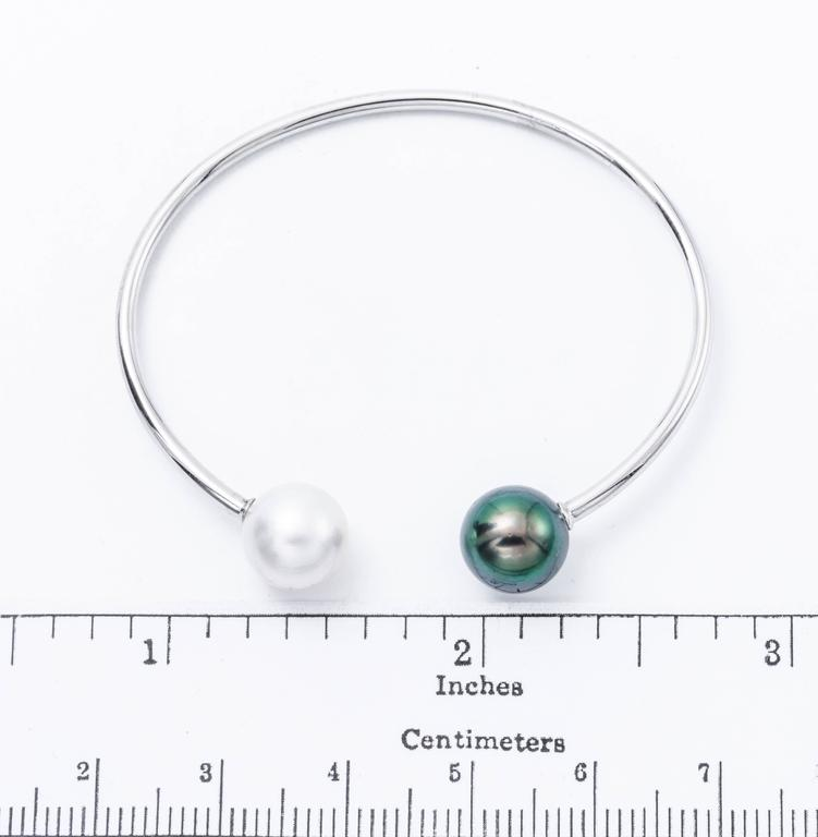 18K White Gold South Sea Pearl and Tahitian: 11-12 mm  4g. Bangle