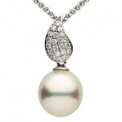 South Sea Pearl and Diamond Tear Drop Slide Pendant