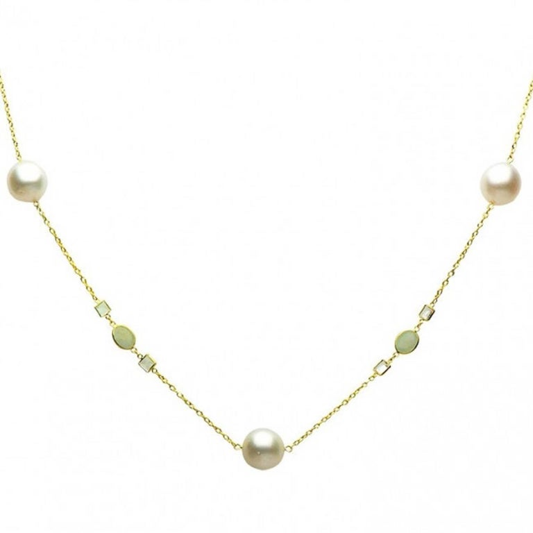 Yellow Gold 12-13 mm South Sea Pearl, Aquamarine & White Topaz Tincup  Necklace