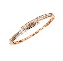 Brown and White Diamond Gold Bangle