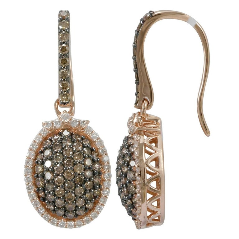 Brown and White Diamonds Drop earrings