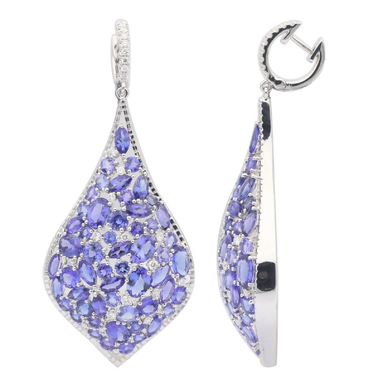 Mixed Shapes Tanzanite and Diamond Dangle Drop Earrings 25.63 Carat