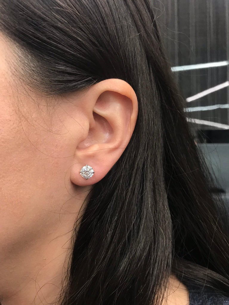 Contemporary Diamond Stud Earrings GIA Certified 2.62 Carat H I1 For Sale