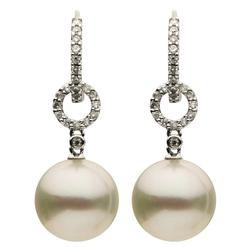 South Sea Pearl Diamond Gold Drop Earrings