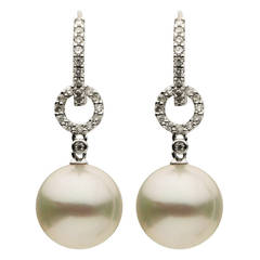 South Sea Pearl Diamond Gold Drop Earrings