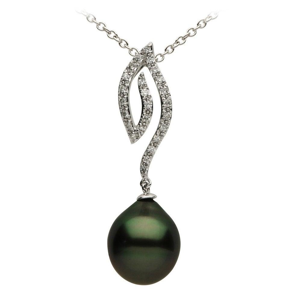 Tahitian Pearl Diamond Gold Pendant For Sale
