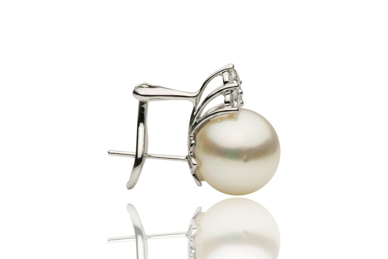 Contemporary South Sea Pearl Diamond Drop Earrings 0.60 Carats 12-13 MM 18K White Gold For Sale
