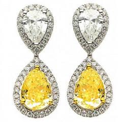 Fancy Colored Diamond Drop Earrings