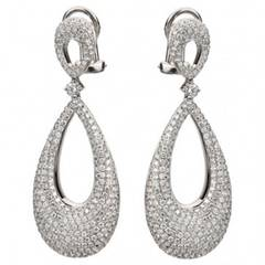 2.90 Carat Diamond Basket Dangle Earrings