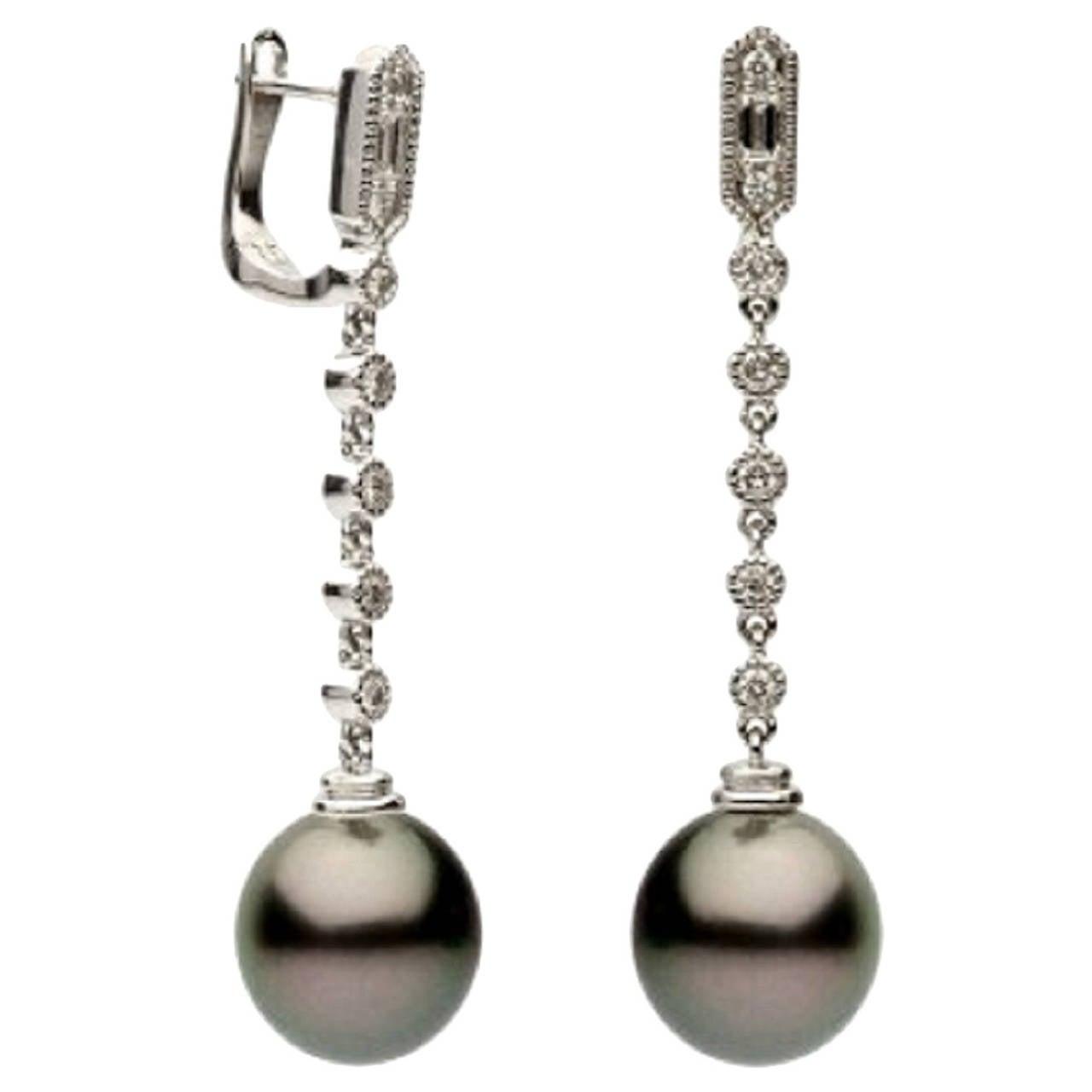 Tahitian Cultured Pearl Earrings For Sale