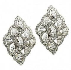 Diamond Gold Cluster Earrings