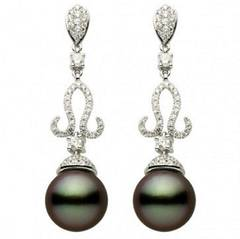 Tahitian Cultured Pearl Diamond Dangle Earrings