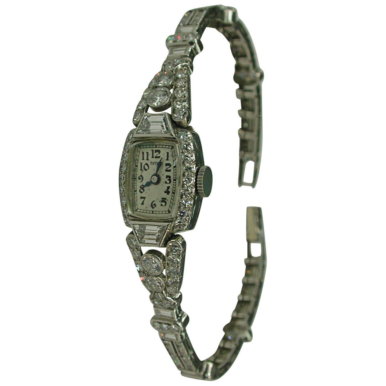 Tiffany & Co. Ladies Platinum Diamond Wristwatch