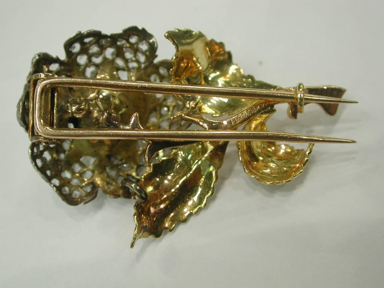 Women's 1990s Buccellati Diamond Cultured Pearl Brooch For Sale