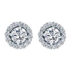 Round Brilliant Diamond Studs With Diamond Jackets