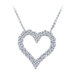 3.82 Carat Diamonds Gold Heart Pendant Necklace