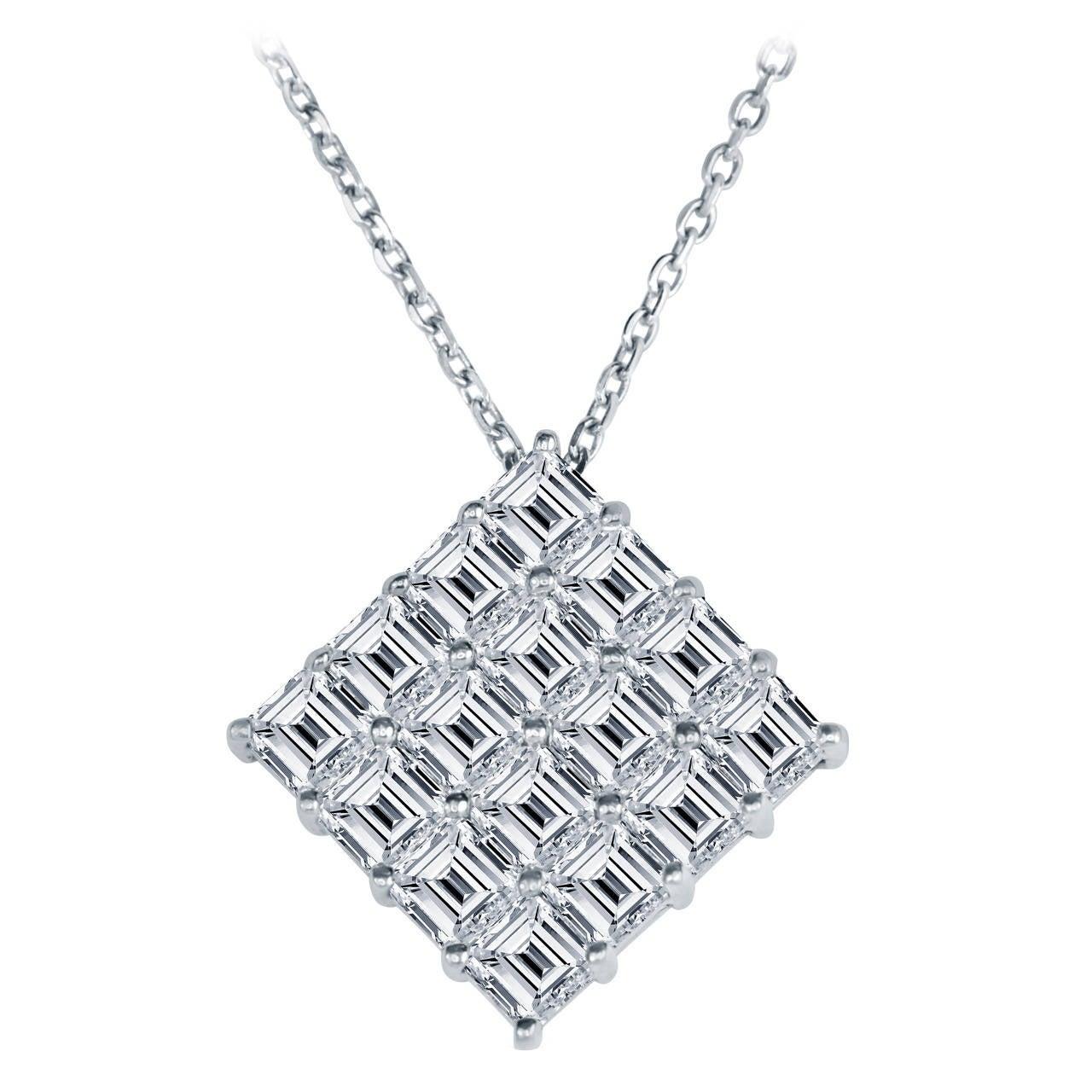 Asscher Cut Diamond Platinum Pendant Necklace Ring 1