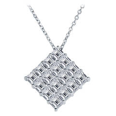 Asscher Cut Diamond Platinum Pendant Necklace Ring